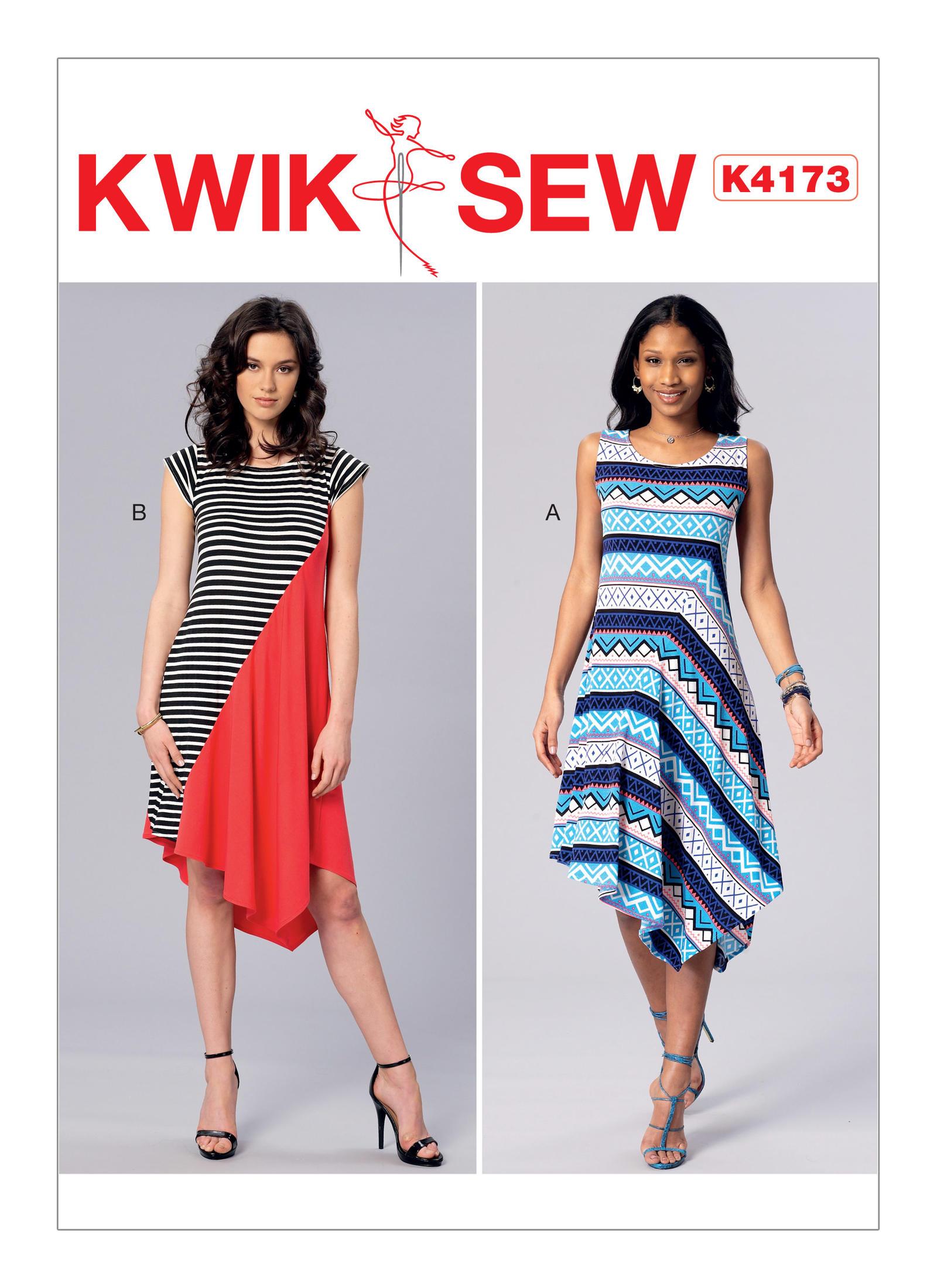 Kwik Knit Patterns : Kwik Sew 4173- Misses Diagonal-Seam, Asymmetical-Hem Dresses