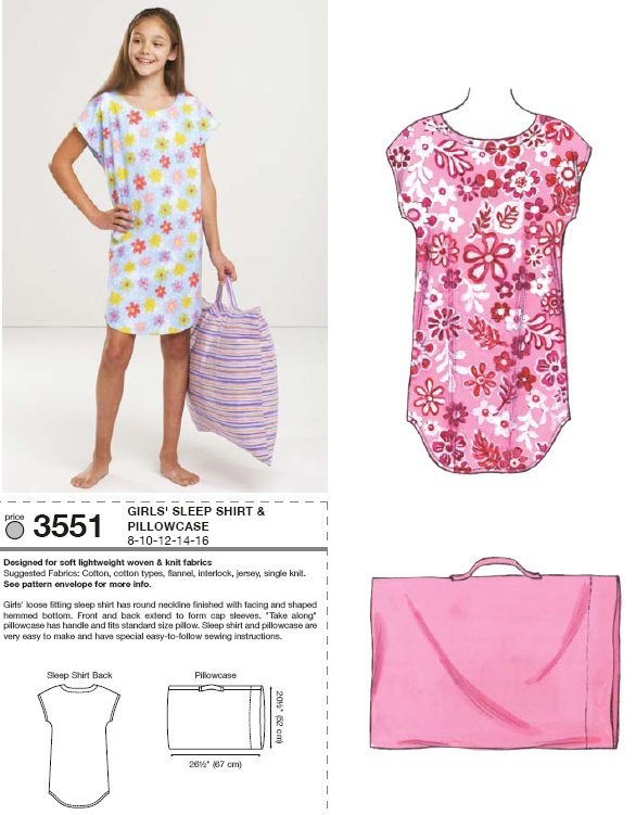Kwik Sew Sleep Shirt and Pillowcase 3551
