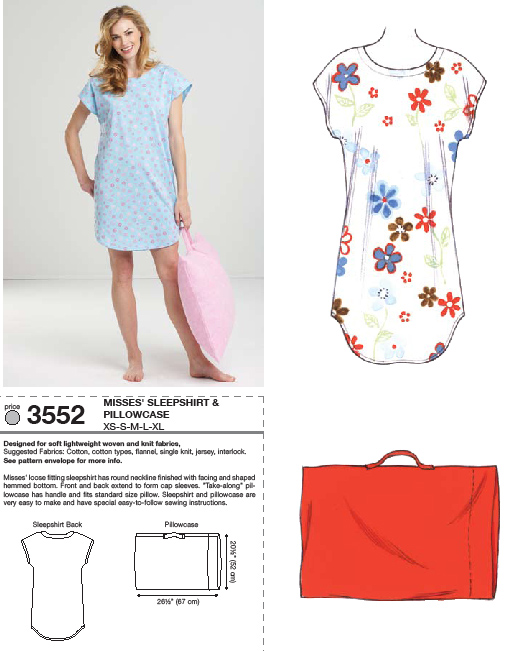 Kwik Sew Sleep Shirt and Pillowcase 3552