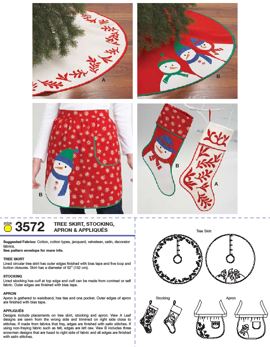 Kwik Sew Tree Skirt Stocking Apron & Appliques 3572