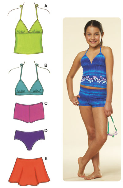 Kwik Sew Girls Mix & Match Swimwear 3605