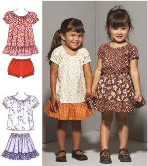 Kwik Sew  Toddlers' Dress, Top, Skirt & Bloomers 3665