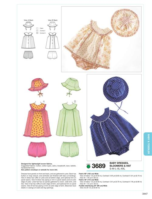 Kwik Sew Dresses, Bloomers & Hat 3689