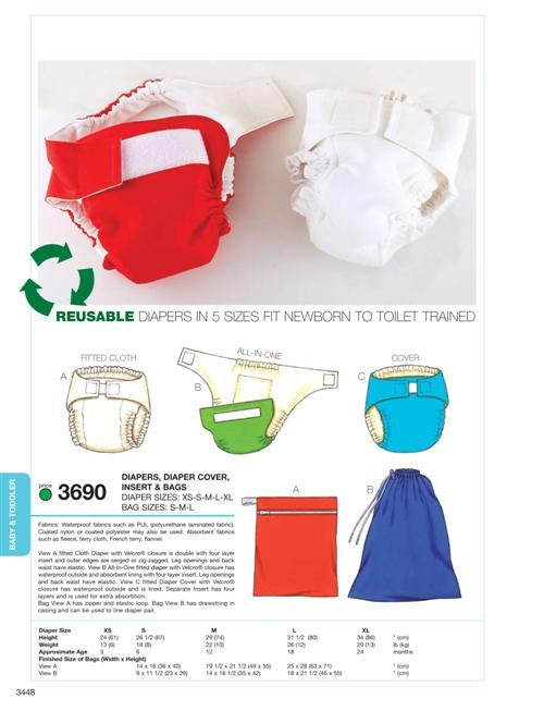 Kwik Sew Diapers, Diaper Cover, Insert & Bags 3690