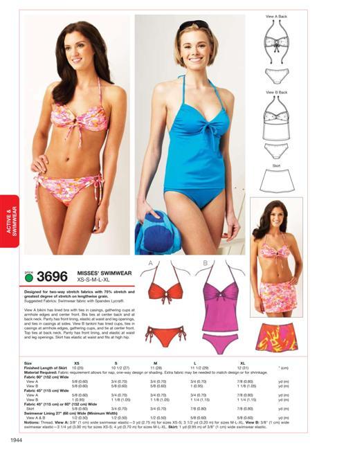 3696 Swimwear Sewing Patterns