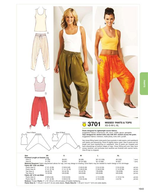 Kwik Sew Pants & Tops 3701