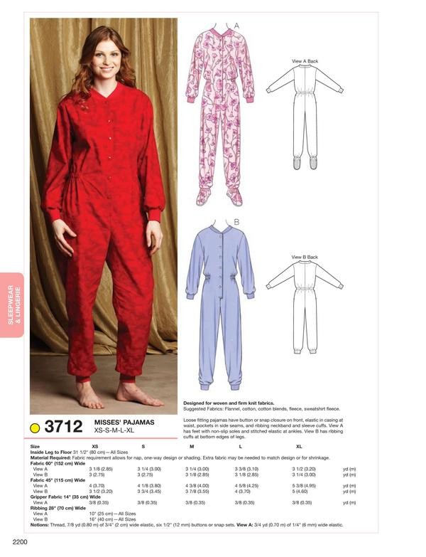 Kwik Sew Pajamas 3712