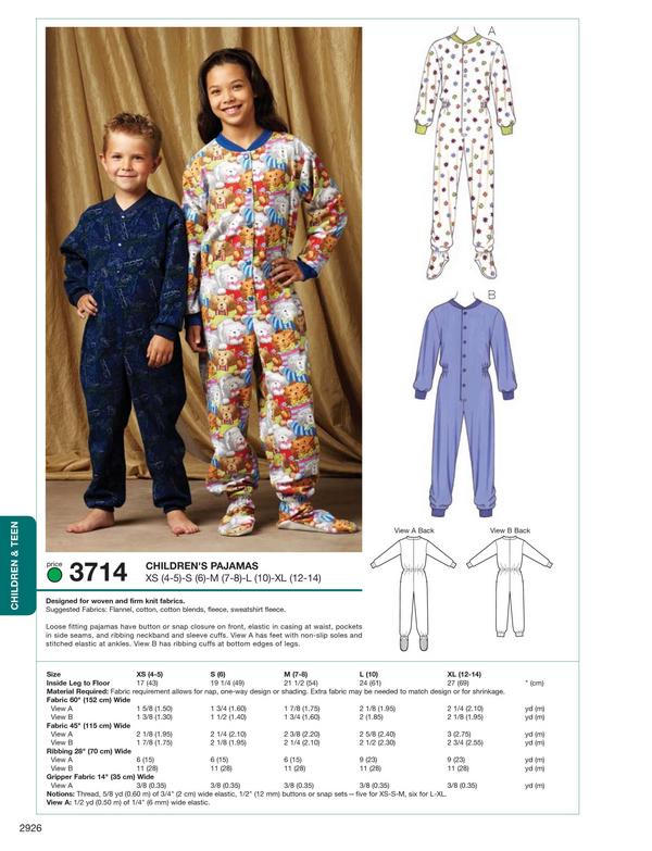 Kwik Sew Kids Pajamas 3714