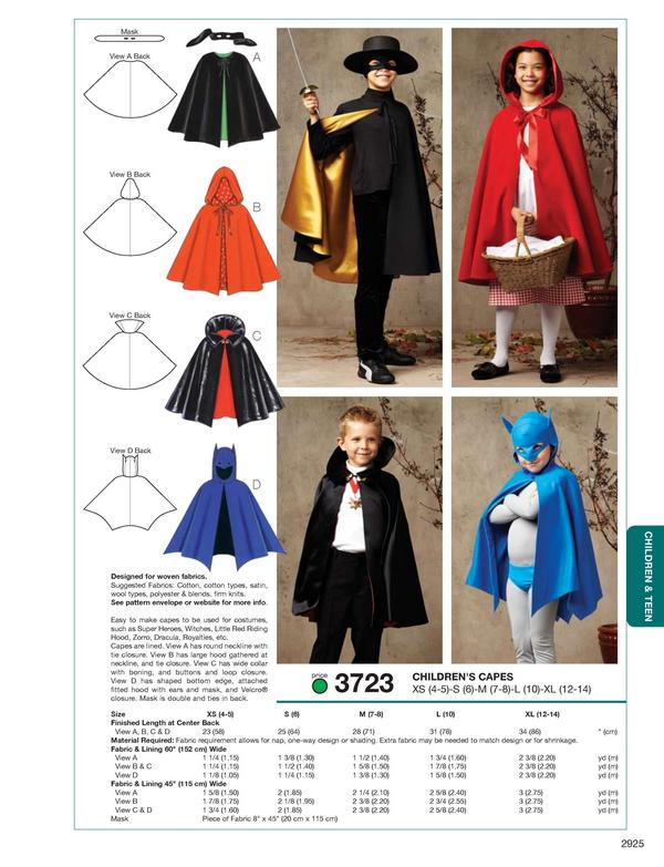 Kwik Sew Childrens' Capes 3723