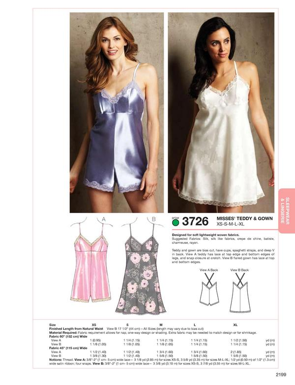 Kwik Sew Teddy & Gown 3726