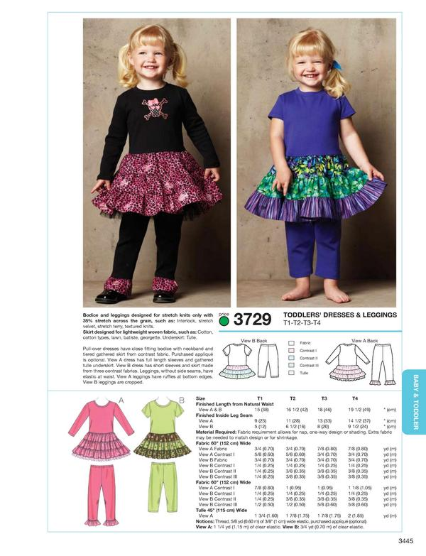 Kwik Sew Toddlers Dresses & Leggings 3729