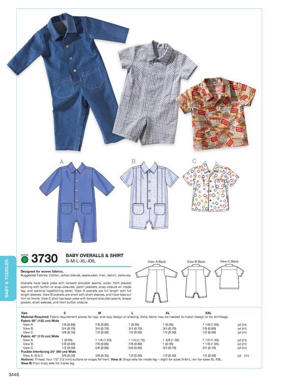 Kwik Sew Babies Overalls & Shirt 3730