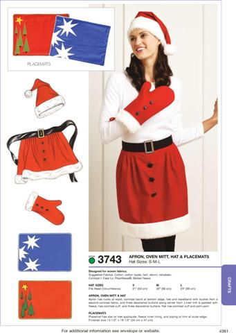 Kwik Sew Apron, Oven Mitt, Hat & Placemats 3743