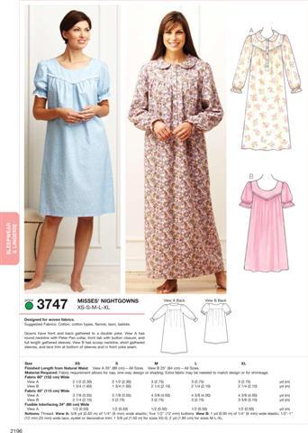 Kwik Sew Nightgowns 3747