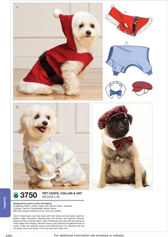 Kwik Sew Pet Coats, Collar & Hat 3750