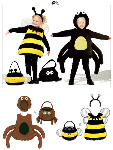 Kwik Sew Spider & Bumble Bee Costumes & Treat Bags 3803