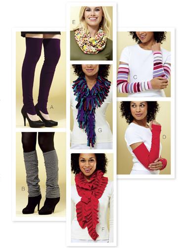Kwik Sew Leg Warmers, Sleeves & Scarves 3809