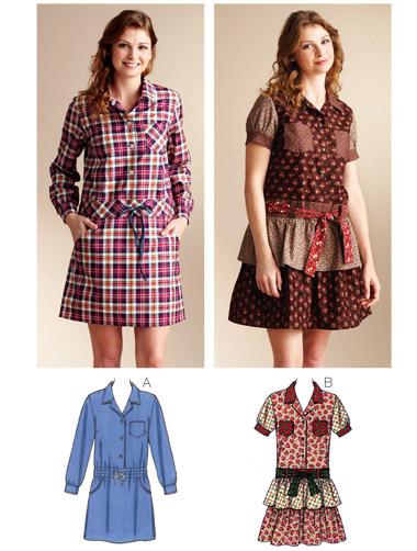 Kwik Sew Dropped Waist Shirt Dresses 3840