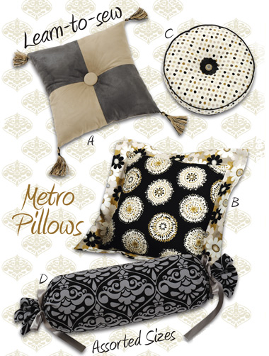 Kwik Sew Metro Pillows in assorted shapes and sizes 3910