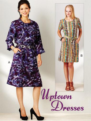 Kwik Sew Uptown Dresses; Misses pullover dress, and belt   3912