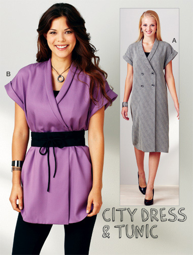 Kwik Sew City Dress and Tunic; Misses Dress, and belt  3913