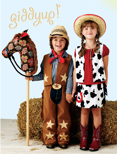 Kwik Sew Childrens Costume;Giddyup Chaps, Vest, Skirt and Pony