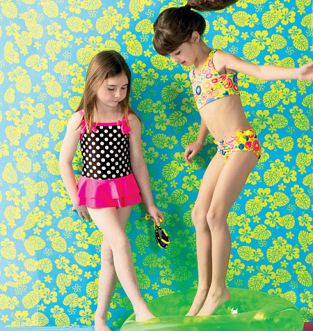 Kwik Sew Girls' Cover-Up and Swimsuits 3998