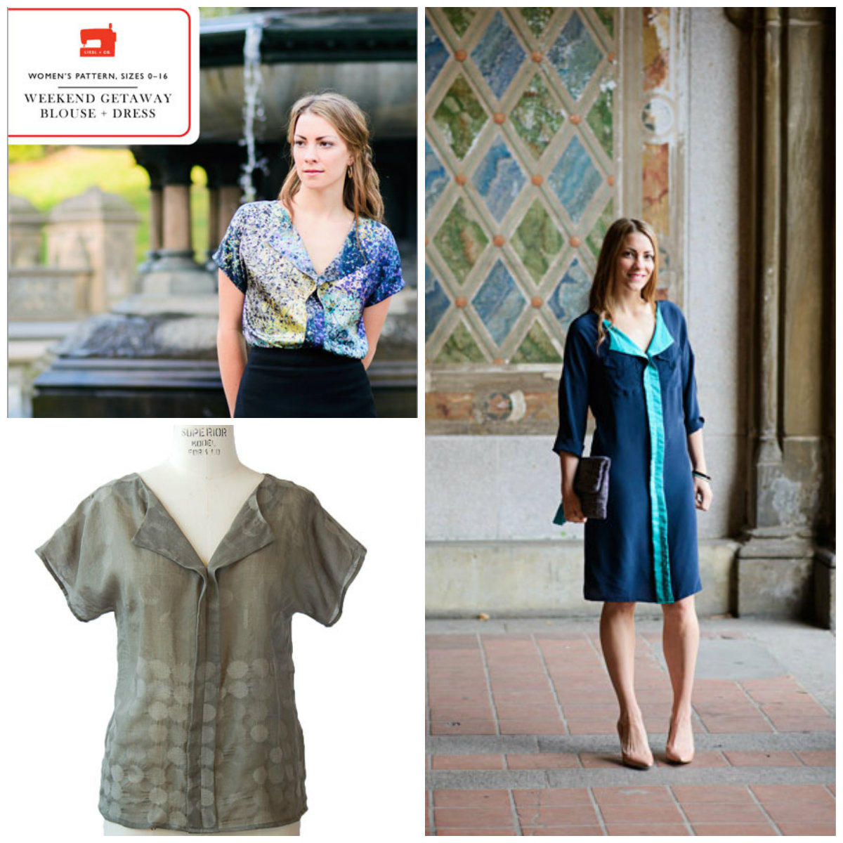 Liesl + Co. Weekend getaway blouse + dress Downloadable Pattern LC003