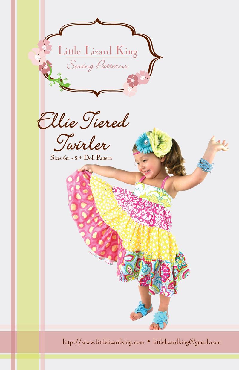 Little Lizard King 312 Ellie Tiered Twirler Downloadable Pattern plus Doll Pattern
