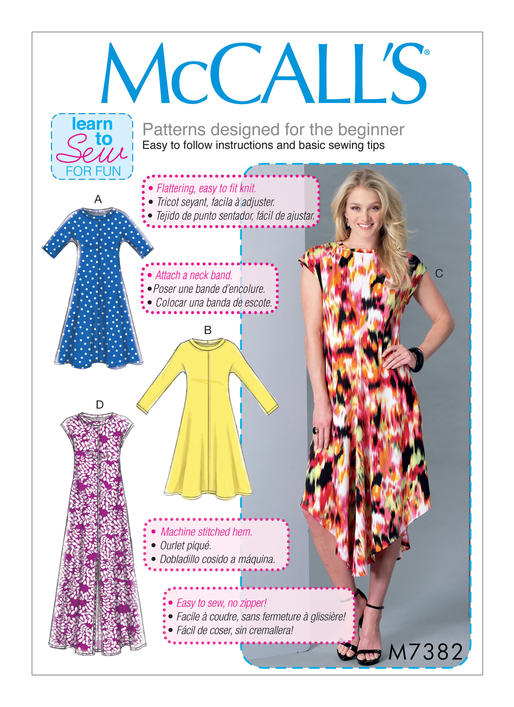 Sewing Patterns For Knits : McCalls 7382 Misses Pullover Knit Dresses sewing pattern