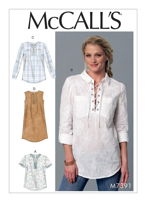 Mccall S 7391 Misses Laced Or Split Neck Tops And Dress