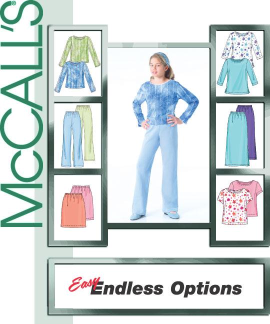 McCall's Girls Tops, Skirts, and Pants 4554