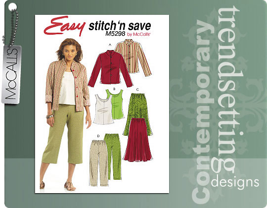 McCall's Jacket, Top, Skirt & Pants 5298