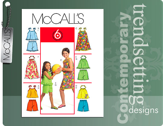 McCall's gir's tops, dress and shorts 5419
