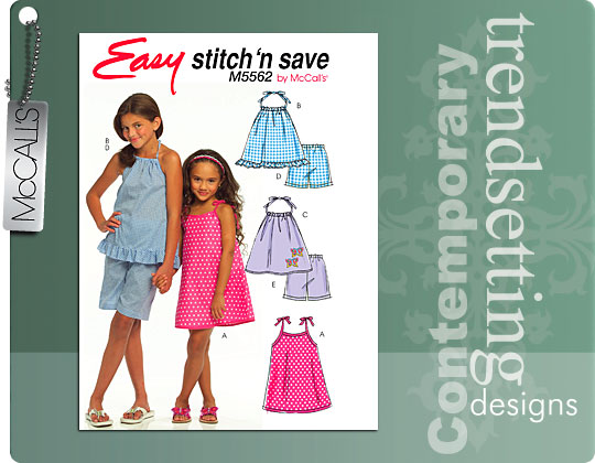 McCall's dress, tops, shorts 5562
