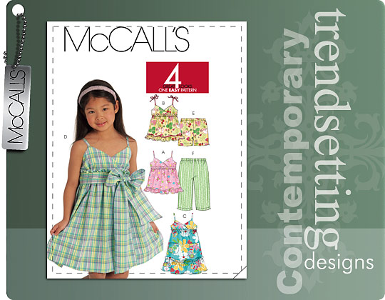 McCall's Girls Tops, Dresses, Bottoms 5837