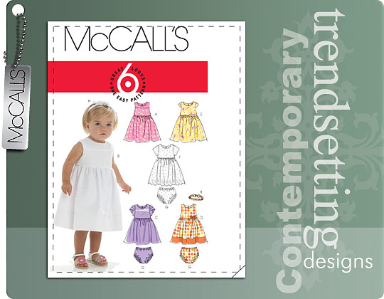McCall's INFANTS' LINED DRESSES, PANTIES AND HEADBAND 6015