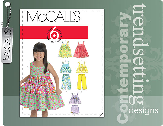 McCall's TODDLERS'/CHILDREN'S TOPS, DRESSES, SHORTS AND PANTS 6017
