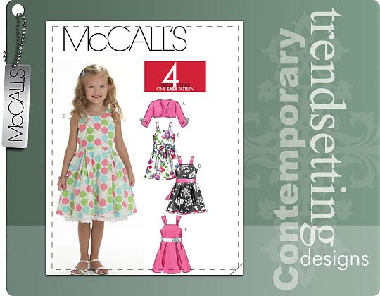 McCall's CHILDREN'S/GIRLS' SHRUG, LINED DRESSES AND SASH 6018