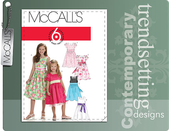 McCall's CHILDREN'S/GIRLS' LINED DRESSES 6020