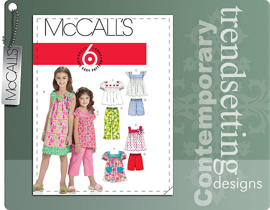 McCall's CHILDREN'S/GIRLS' TOPS, DRESSES, SHORTS AND PANTS 6022