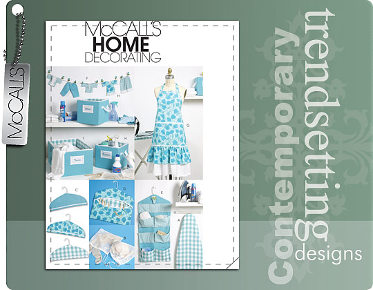 McCall's APRON, IRONING BOARD COVER, ORGANIZER, BINS, HANGER COVER, CLOTHESPIN HOLDER, BANNER AND SCISSOR CADDY 6051