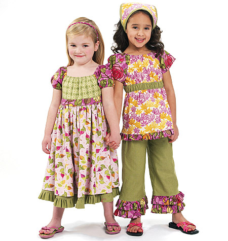McCall's Children's/Girls' Top, Dress, Capri Pants and Kerchief 6062