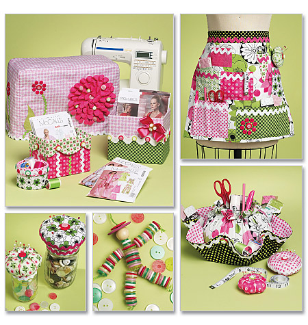 McCall's Sewing Machine Cover, Apron, Pattern Boxes, Container, Organizer, Pin Cushions and Button Doll 6095