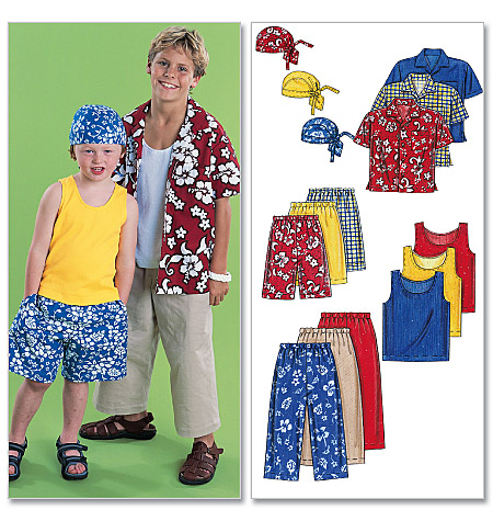 McCall's Children's/Boys' Shirt, Tank Top, Pull-On Cropped Pants, Pull-On Shorts and Headwrap 6099