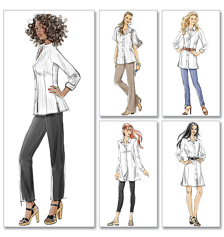 McCall's Misses'/Miss Petite/Women's/Women's Petite Shirts In 3 Lengths 6124