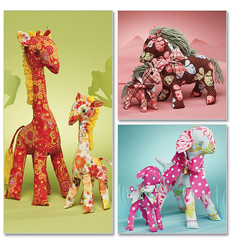 McCall's Retro Lamb, Horse and Giraffe In 2 Sizes 6136