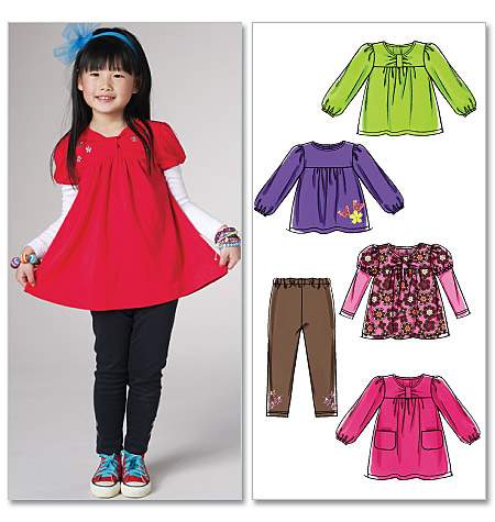 McCall's Toddlers'/Children's Tops, Dress and Leggings 6153