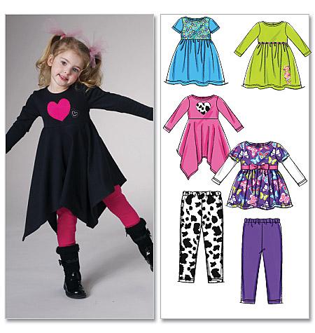 McCall's Children's/Girls' Tops, Dresses and Leggings 6155