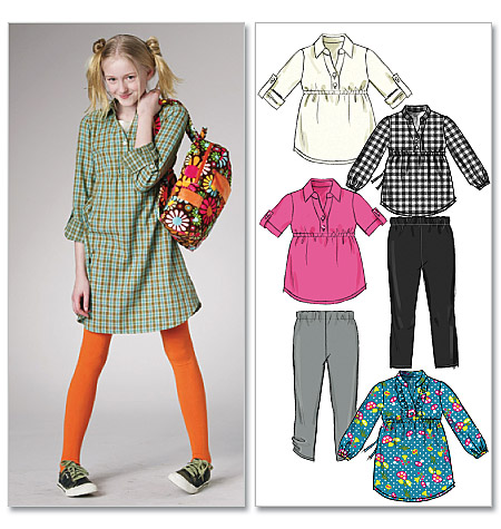 McCall's Children's/Girls' Tops, Dresses and Leggings 6156